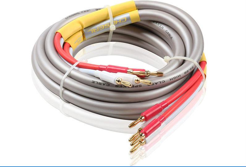 Choseal QB203 OD13mm 2.5m Audiophile HiFi OFC Audio Cable Dual Banana Plug Speaker Cable