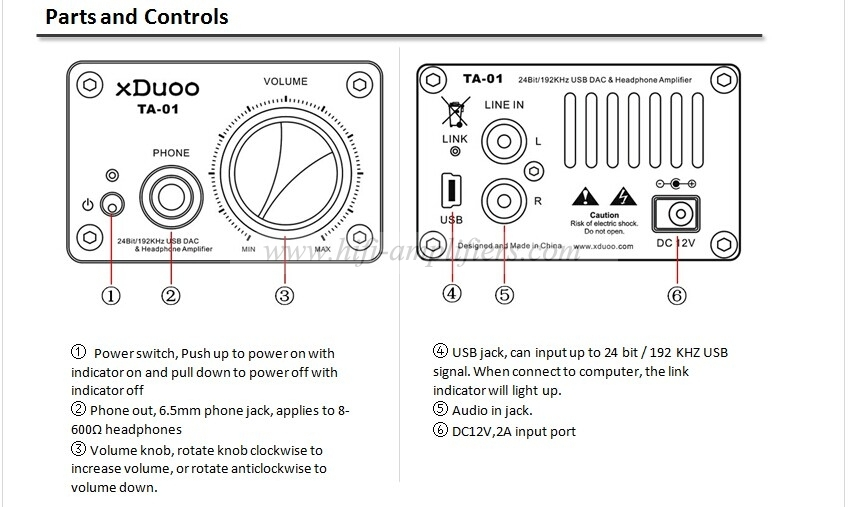 XDUOO TA-01 Hifi 24Bit/192KHz USB DAC Tube Headphone Amplifier