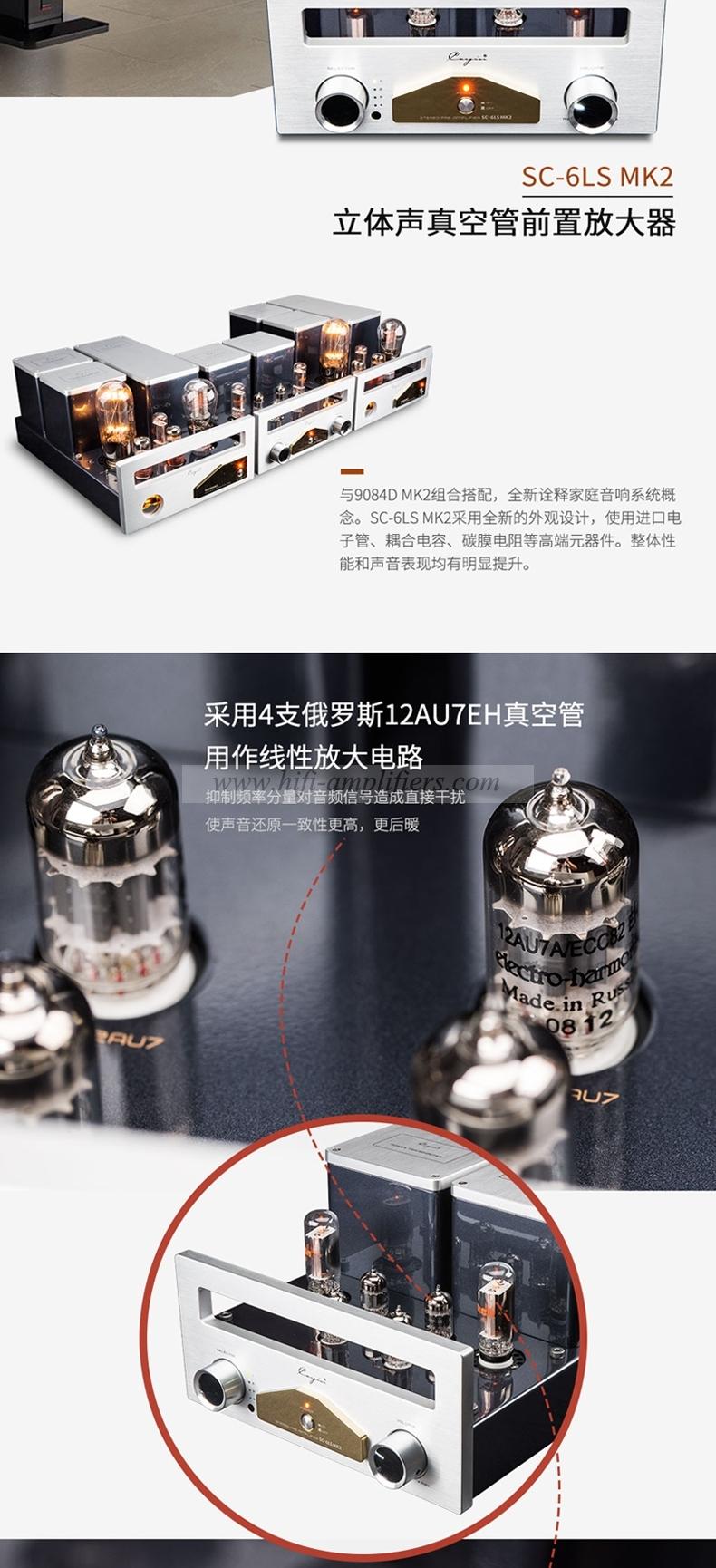 Cayin SC-6LS MK2 12AU7 EH tube Stereo preamp HiFi Valve Pre-amplifier