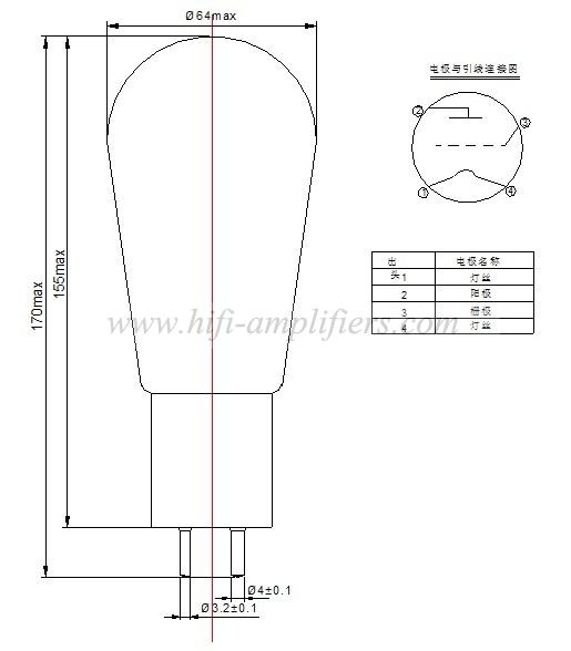 PSVANE Vacuum Tube 300B-N Matched pair =300B nice sound