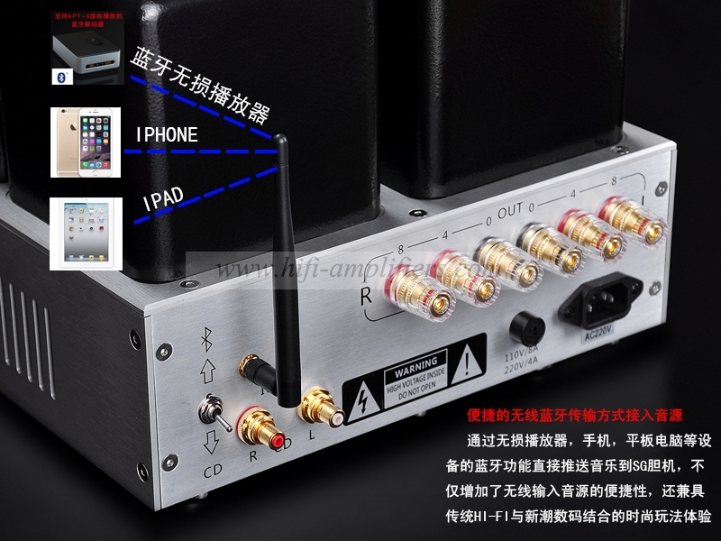 Shuguang SG-845-7 300B 845  Class single-ended Stereo tube Amplifer With Bluetooth