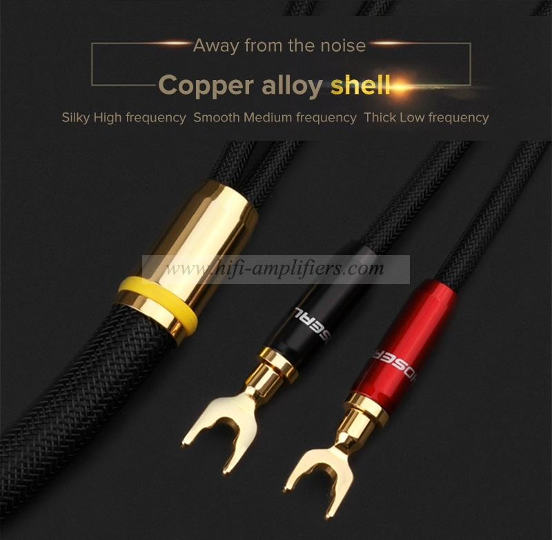 Choseal QS991 HIFI 6N OCC copper U type connect Amplifier Speaker Cable Pair