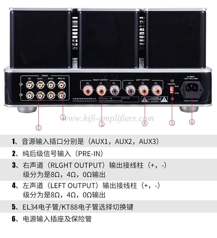 Willsenton R8 Tube Amplifier KT88x4 HiFi Audio Power Amp Replaceable with Basic Meter