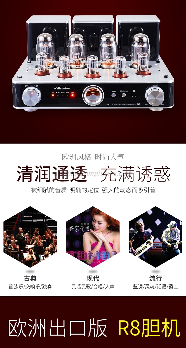 Willsenton R8 Tube Amplifier KT88x4 HiFi Audio Power Amp Replaceable with Basic Meter